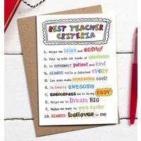 Best Teacher Criteria Card