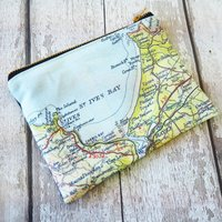 Personalised Map Print Clutch Purse