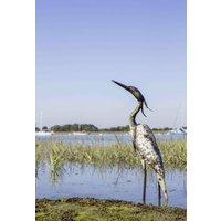 Egret Heron Handmade Recycled Metal Garden Sculpture