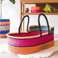 Kala: Pink, Orange And Turquoise Woven Moses Basket