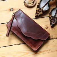 Leather Clutch Bag, Shoulder Bag, Distressed Brown