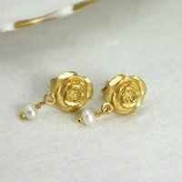 Gold Rose Stud Earrings With Freshwater Pearls, Gold