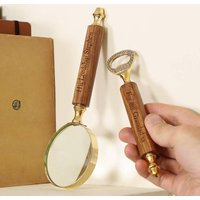 Personalised Brass Magnifying Glass And Bottle Opener