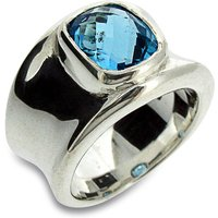 Molten Silver And Blue Topaz Ring, Silver