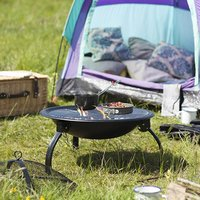 Camping Firepit With Grill, Folding Legs And Bag