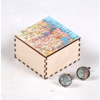 Personalised Map Cufflinks And Cufflink Box