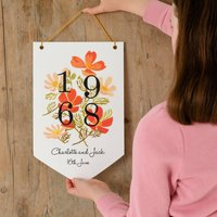Personalised Floral Wedding Or Birth Year Hanging Sign