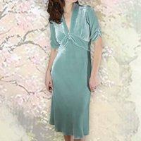Elegant Tea Dress In Our Sumptuous Seafoam Silk Velvet