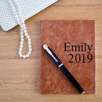 Personalised 2019 Leather Diaries, Chocolate/Russet/Red