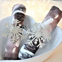 Set Of Two Silver Snowflake Napkin Rings