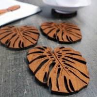 Wooden Drinks Coasters With Monstera Leaf Design