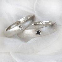 Diamond Ring Set In Frosted Silver, Silver