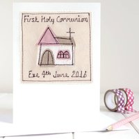 Personalised Girls First Holy Communion Card, Pink
