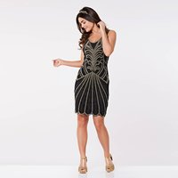 Roaring 20s Inspired Flapper Dress, Black/Gold/Silver
