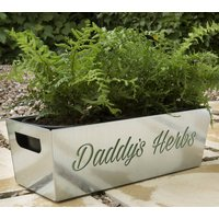 Daddys Herbs Metal Planter, Blue/Pale Green/Green