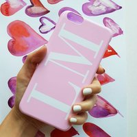 Soft Pink And White Monogram Phone Case, Pink
