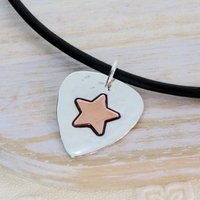 Personalised Silver And Copper Guitar Pick, Silver