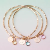 Personalised Tula Birthstone Bangle, Silver/Rose Gold/Rose
