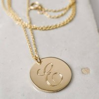 Large Engraved Initial Gold Coin Pendant Necklace, Gold