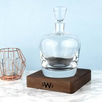 Monogrammed L.S.A. Whisky Decanter And Walnut Base