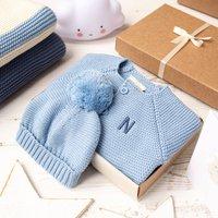 Luxury Blue Grey Bobble Hat And Cardigan Baby Gift Box