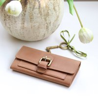 Large Leather Purse Wallet, Camel Tan