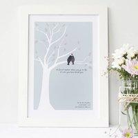 Personalised Love Birds Anniversary Print, Sage/Green/Pale Blue