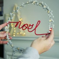 Noel Pom Pom Fairy Light Wreath Christmas Decoration