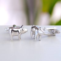 Personalised Silver Pig Cufflinks, Silver