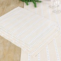 Set Of Four Millstone Heart Blue Cotton Placemats
