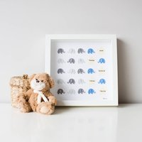 Original Personalised Kids Elephant Nursery Wall Art, Teal/Pale Blue/Blue