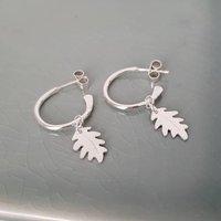 Silver Leaf Hoop Earrings, Silver