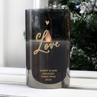 Personalised LED Smoked Glass Love LED Candle