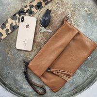 Luxury Italian Leather Clutch Cross Body Bag