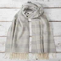 Alpaca Mix Chalk Striped Wrap / Pashmina