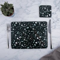 Black Terrazzo Rectangle Placemat Set