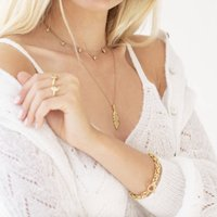 Gold Vermeil Feather And Signature Charm Necklace Set, Gold