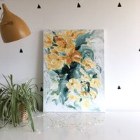 Abstract Flower Ochre Blue Art Canvas Painting