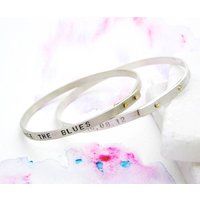 Personalised Silver And Gold Riveted Bangle, Silver