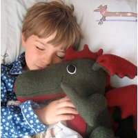 Dragon Soft Toy Large And Personalised, Dark Green/Green/Red