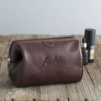 Brown Leather Washbag Cycling Or Labrador