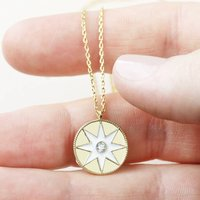 White Enamel Star Disc Pendant Necklace In Gold, Gold