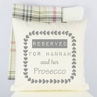 Personalised 'Reserved For' Prosecco Cushion, Pink/Grey