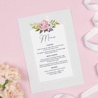 Grey Floral 'Sadie' Wedding Menu Cards