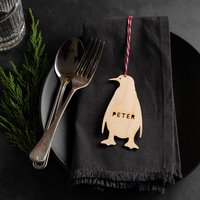 Personalised Wooden Penguin Place Setting