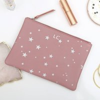 Personalised Luxury Star Leather Clutch Bag