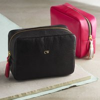 Personalised Leather Cosmetic Bag, Black/Pink/Gold
