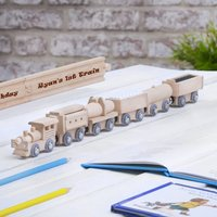 Wooden Train And Fully Personalised Track Set