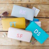 Personalised Block Initials Large Zip Around Wallet