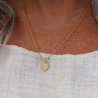 Small Heart Necklace With White Sapphires